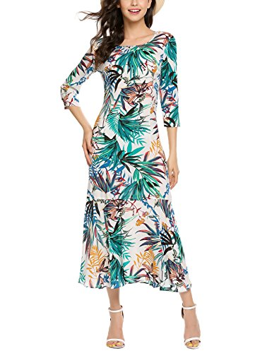 74a1ad29d9d2 Elesol Women s Vintage Printed Casual Party Floral Dress - Midi ...