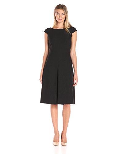 12c400b4c314a Lark & Ro Women's Cap Sleeve Inverted Pleat Midi Dress - Midi Length ...